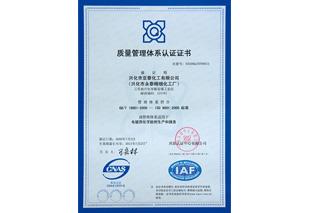 亚泰化工质量管理体系认证证书
